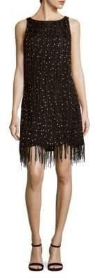 Badgley Mischka Beaded Raw Silk Dress