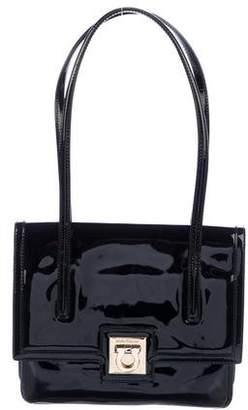 Salvatore Ferragamo Gancio Patent Leather Shoulder Bag