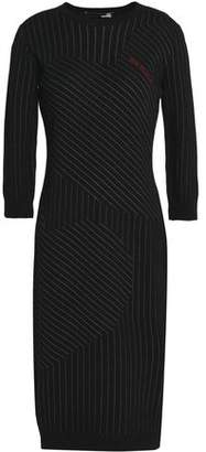 Love Moschino Pinstriped Embroidered Knitted Dress
