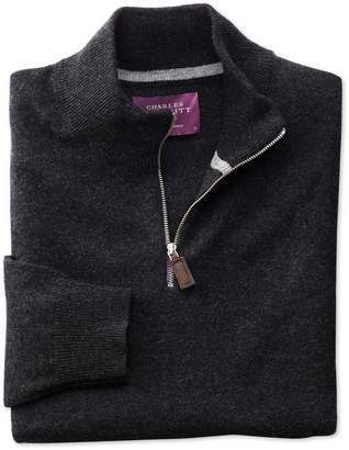 Charles Tyrwhitt Charcoal Cashmere Zip Neck Sweater Size XL