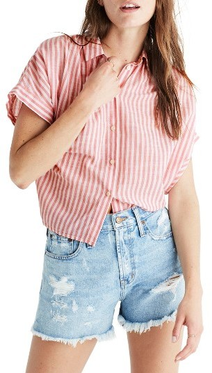 Women's Madewell Central Tie Back Stripe Shirt