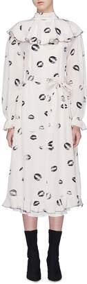 Sonia Rykiel Ruffle yoke lips print silk crepe dress