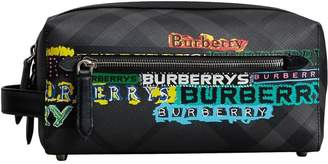 Burberry Tag Print London Check and Leather Pouch