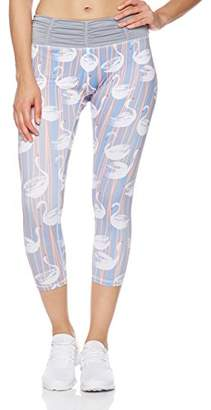 Mint Lilac Women's Printed Capri Leggings Workout Cropped Athletic Yoga Pants with Ruched Waistband Gray