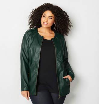 Avenue Snap Shoulder Faux Leather Jacket