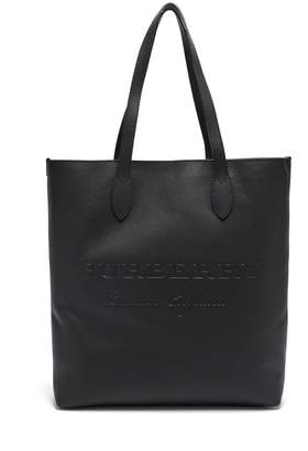 Burberry Logo-debossed grained-leather tote
