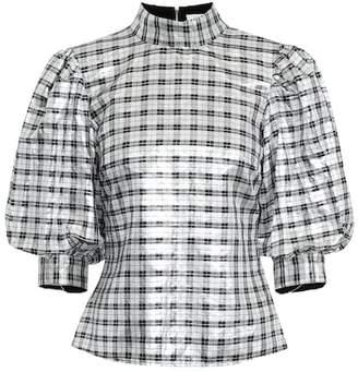 Ganni Lagarde metallic silk-blend blouse