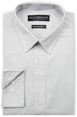 Nick Graham Grey Stretch Modern Fit Dress Shirt