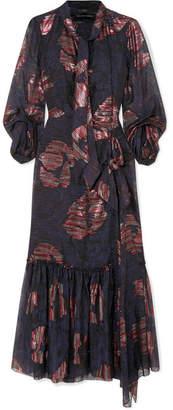Roland Mouret Dana Cutout Metallic Fil Coupé Silk-blend Chiffon Dress - Navy