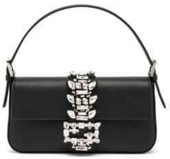 Fendi Swarovski Crystal Embellished Leather Top Handle Bag