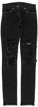 Christopher Kane Distressed Mid-Rise Jeans