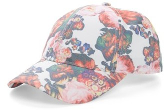 Women's August Hat Caps Off Floral Baseball Cap - White $24 thestylecure.com