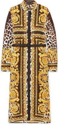 Versace - Printed Silk-twill Midi Dress - Black