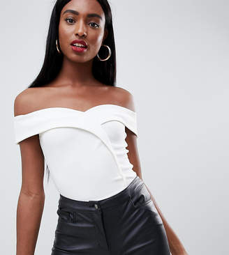 Missguided Tall bardot wrap over body in white