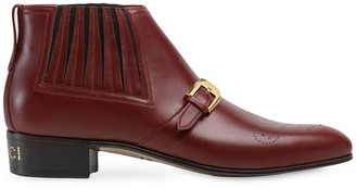 Gucci leather ankle boot with G brogue