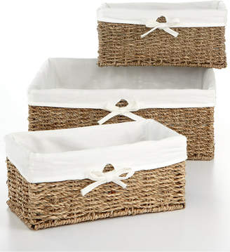 Household Essentials Storage Baskets, Set of 3 Seagrass Utility