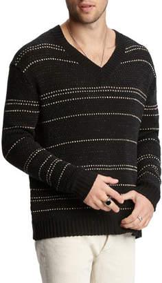 John Varvatos Men's Jacquard-Stripe Easy-Fit V-Neck Sweater