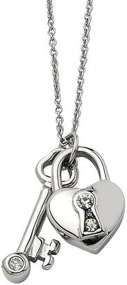 """Steel By Design Stainless Steel Heart Lock & Key Pendant w/ 17""""Chain"""