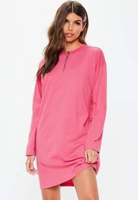 Missguided Long Sleeve Ring Zip Oversized T Shirt Dress