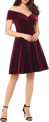 Xscape Evenings Off the Shoulder Velvet Party Dress