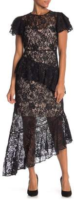 Monique Lhuillier Short Sleeve Lace Dress