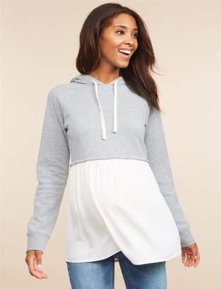 Motherhood Maternity Long Sleeve Hooded Maternity Sweatshirt Twofer