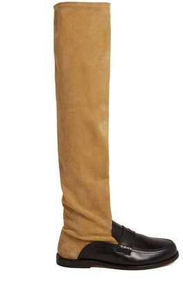 Loewe Over-the-knee leather loafer boots