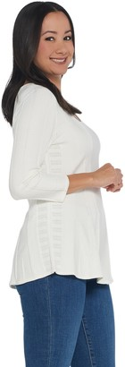 Women With Control Attitudes by Renee 3/4 Sleeve Peplum Sweater Top