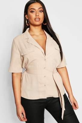 boohoo Plus Button Tie Waist Utility Shirt