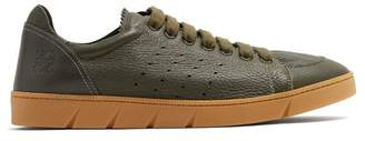 Loewe Round Toe Leather Low Top Trainers - Mens - Khaki