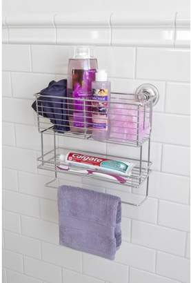 Splash Home Boxy Two Shelf Suction Basket With A Towel Bar For Bathroom In Chrome