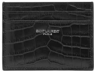 Saint Laurent Crocodile Effect Leather Cardholder - Mens - Black