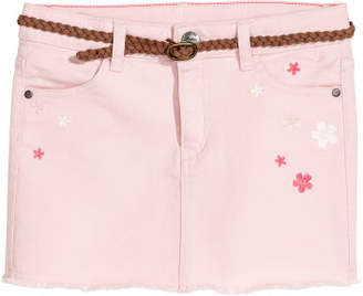 H&M Twill Skirt with Embroidery - Pink