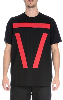 Givenchy Bar-Graphic Short-Sleeve T-Shirt, Black/Red $455 thestylecure.com