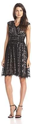 London Times Women's Cap-Sleeve Shir Waist Lace Full Skirt Dress