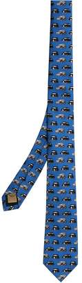 Burberry Slim Cut Taxi Print Silk Tie
