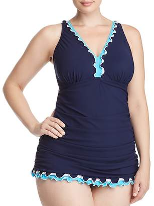 Gottex Profile by Plus Ruffled V-Neck One Piece Swimsuit