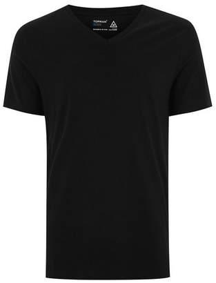 Topman Mens Black Slim V-Neck T-Shirt