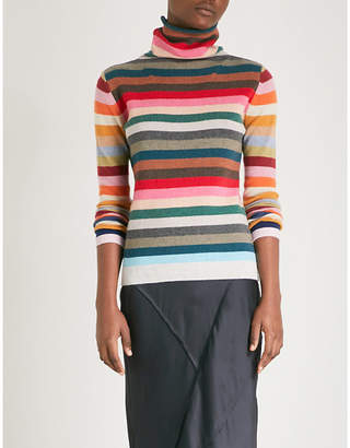 Allude Rainbow striped wool-blend turtleneck jumper