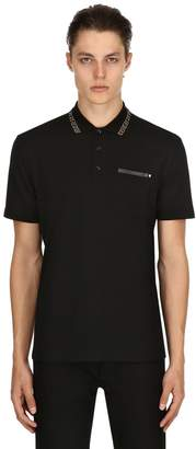 Versace Greek Motif Collar Cotton Polo Shirt