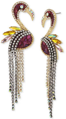 Betsey Johnson Two-Tone Pave & Stone Flamingo Linear Drop Earrings