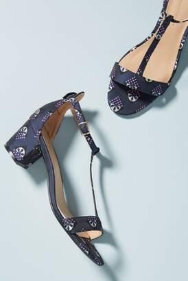 Anthropologie Floral T-Strap Heels