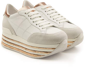 Hogan Maxi H222 Platform Sneakers with Leather and Suede
