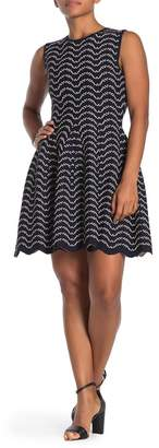 Ted Baker Printed Knit Fit & Flare Dress