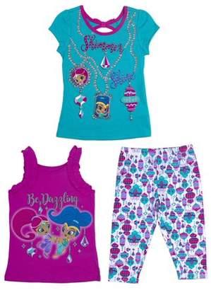 Nickelodeon Shimmer & Shine Toddler Girl T-Shirt, Tank Top & Capri Leggings, 3pc Outfit Set