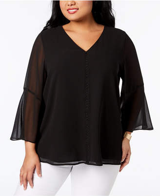 Calvin Klein Plus Size Sheer-Sleeve Beaded Blouse