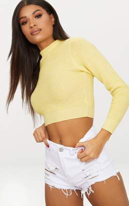 PrettyLittleThing Lemon Ribbed Cropped Knitted Jumper