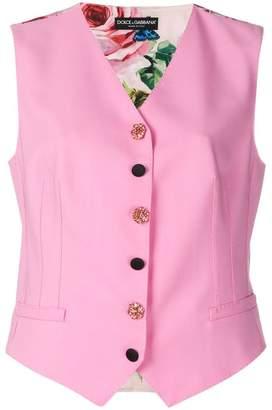 Dolce & Gabbana jewel button floral back waistcoat