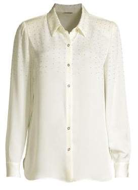 Elie Tahari Macklyn Studded Silk Georgette Blouse