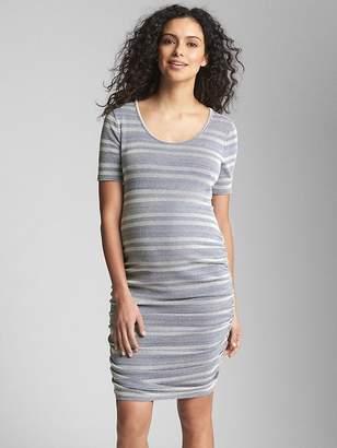 Gap Maternity Ribbed Stripe Ruched T-Shirt Dress